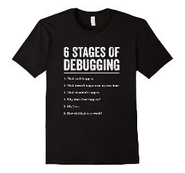 Image for 6 Stages of Debugging Bug Coding Computer Programmer T-Shirt