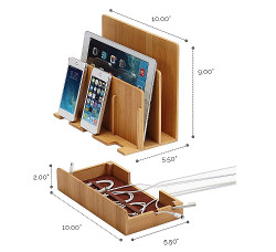 Image for Eco Bamboo Multi-Device Charging Station Dock & Organizer
