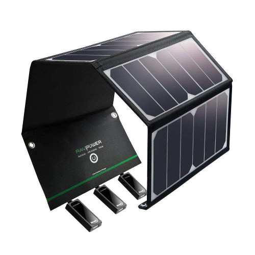 Image for Solar Charger RAVPower 24W Solar Panel with 3 USB Ports